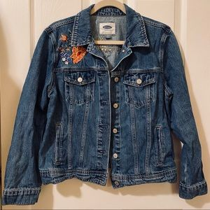 Old Navy Floral Embroidered Denim Jacket